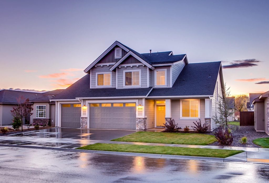 Home Security Systems - Suburban home during sunset